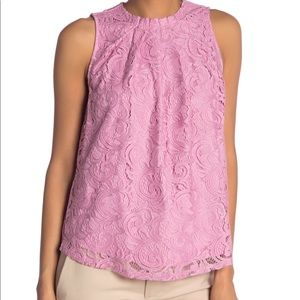 NWT Adrianna Papell Purple Knit Lace Top